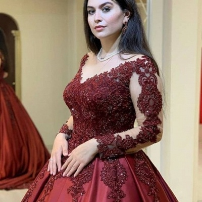 Wine red evening dresses with sleeves | Princess evening wear with lace_3