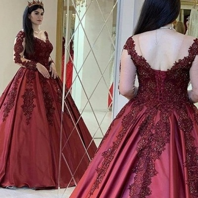 Wine red evening dresses with sleeves | Princess evening wear with lace_2