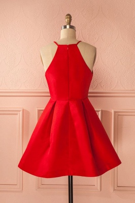 Cheap Cocktail Dresses Party Dresses Short Red A Line Satin Prom Dresses_3