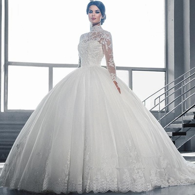 Cheap High Neck Long Sleeve Ball Gown Bridal Dresses With Lace_2