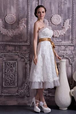 Brautkleider Kurz Weiß Spitze Mit Schleife Etuikleider Knielang Hochzeitsmoden_5