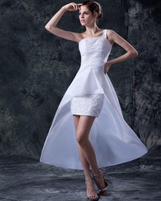 Elehante Weiß Brautkleider Kurz Mit Spitze Organza Hochzeitskleider Brautmoden_5