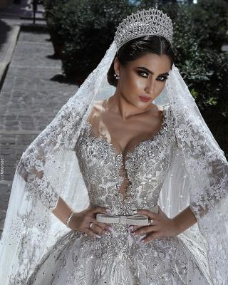 Luxus Brautkleid A Linie   Hochzeitkleider Spitze Mit Perlen_3