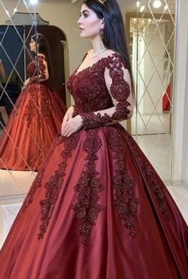 Wine red evening dresses with sleeves | Princess evening wear with lace_1