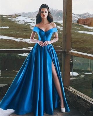 Royal Blaue Abendkleider Lang Günstig A Linie Abiballkleider Abendmoden Online_1