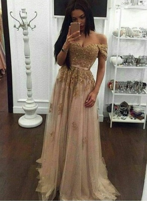 Golden long evening dresses with lace sheath dress tulle prom dresses cheap online_1
