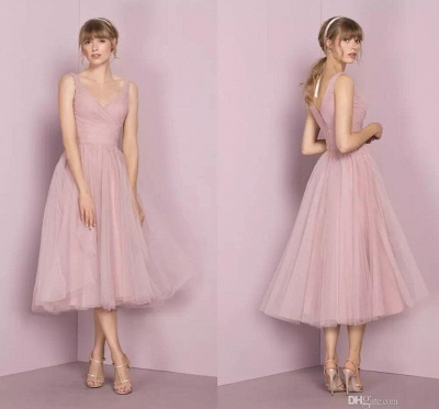 Fashion Bridesmaid Dresses Short Pink A Line Dresses Wedding Bridesmaid_2