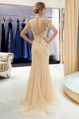 Luxury evening dresses gold long cheap tulle floor length evening wear online_4