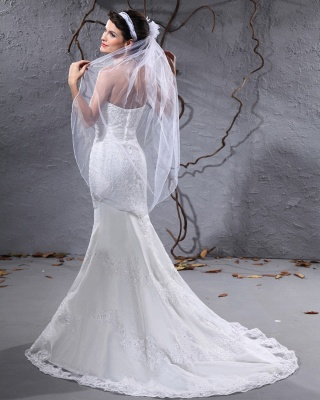 Gorgeous white wedding dresses with lace bridal wedding dresses with train_5