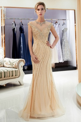 Luxury evening dresses gold long cheap tulle floor length evening wear online_2