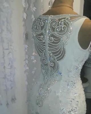 Modern Weiße Brautkleider Spitze Meerjungfrau Hochzeitskleider Bodenlang Günstig_3