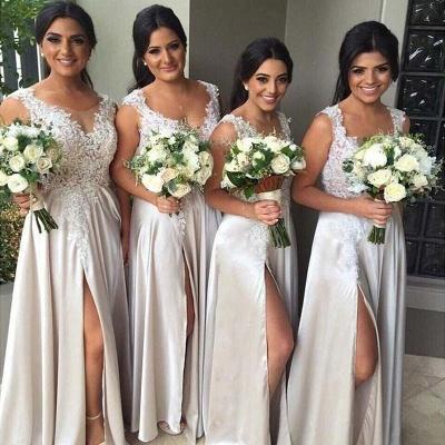 Champagne Brautjungfernkleider Lang Günstig Mit Spitze Träger Bodenlang Kleider Für Brautjungfern_2