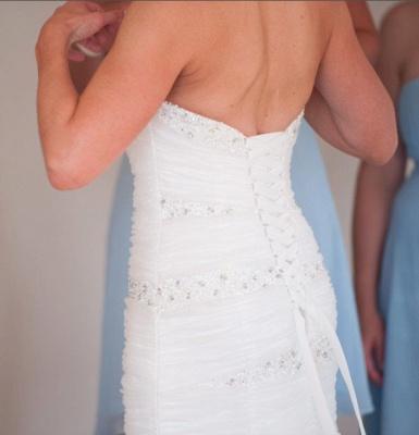 Weiß Brautkleider Günstig Organza Meerjungfrau Perlen Hochzeitskleider Brautmoden_3