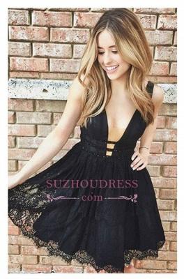 Elegant Cocktail Dresses Black Lace Cheap A Line Party Dresses Prom Dresses_1