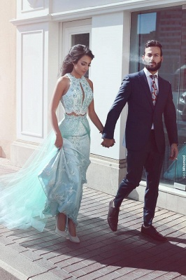 Green Evening Dresses Long Evening Dress Two Piece Lace Prom Dresses Cheap Online_1