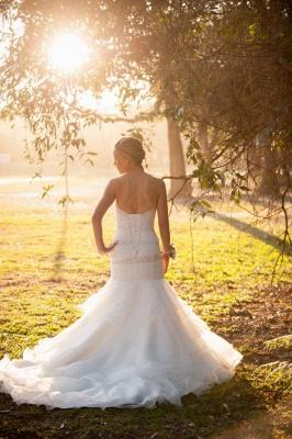 Weiß Brautkleider Günstig Organza Meerjungfrau Perlen Hochzeitskleider Brautmoden_4