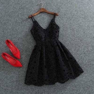 Designer Schwarz Weiß Cocktailkleider Kurz Spitze Mini Abendkleider Partykleider_1