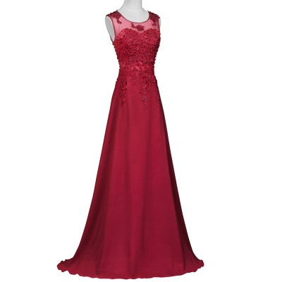 Elegant Evening Dresses Long Wine Red Chiffon A Line Prom Dresses Party Dresses_2