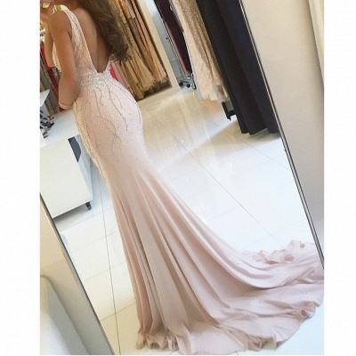 Günstige Abiballkleider Lang Günstig V Ausschnitt Perlen Meerjungfrau Chiffon Abendkleider Online_2