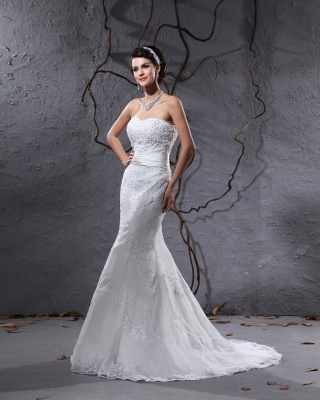 Gorgeous white wedding dresses with lace bridal wedding dresses with train_4
