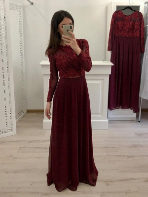 Burgundy Bridesmaid Dresses With Sleeves | Lace bridesmaids dresses online_1