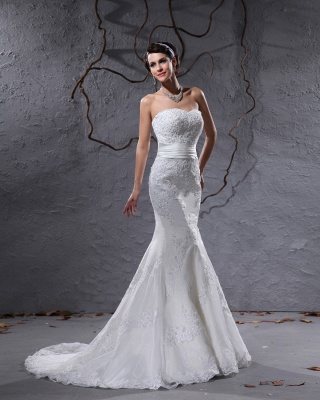 Gorgeous white wedding dresses with lace bridal wedding dresses with train_3