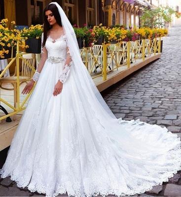 A Linie Weiß Brautkleider Lang Ärmel Spitze Brautmoden Hochzeitskleider_2