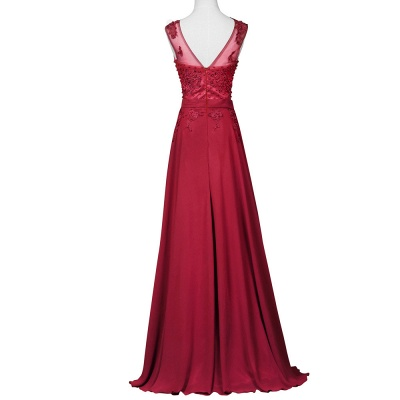 Elegant Evening Dresses Long Wine Red Chiffon A Line Prom Dresses Party Dresses_3