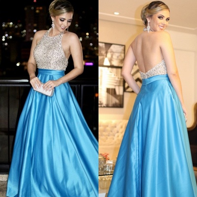 Elegant Evening Dresses Long Light Blue Beaded Evening Wear Prom Dresses_2