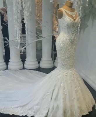 Modern Weiße Brautkleider Spitze Meerjungfrau Hochzeitskleider Bodenlang Günstig_1
