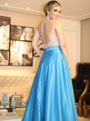 Elegant Evening Dresses Long Light Blue Beaded Evening Wear Prom Dresses_3