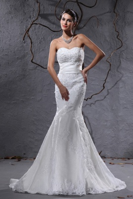 Gorgeous white wedding dresses with lace bridal wedding dresses with train_1