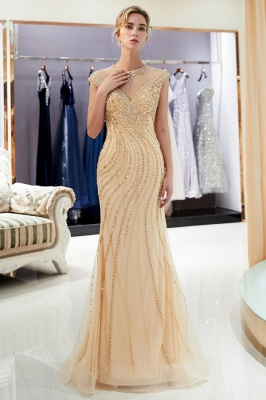 Luxury evening dresses gold long cheap tulle floor length evening wear online_3
