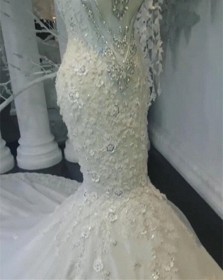 Modern Weiße Brautkleider Spitze Meerjungfrau Hochzeitskleider Bodenlang Günstig_5