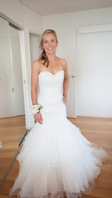 Weiß Brautkleider Günstig Organza Meerjungfrau Perlen Hochzeitskleider Brautmoden_2