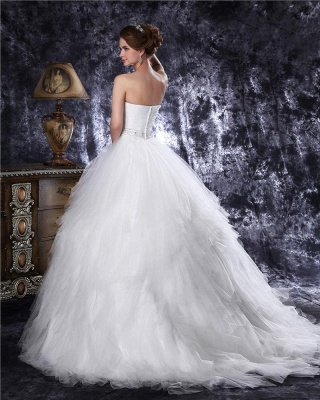 Princess white wedding dresses tulle with train bridal wedding gowns_5