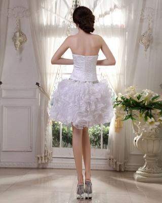 Günstig Kurze Hochzeitskleider Weiß Organza Brautkleider Mini Hochzeitsmoden_5