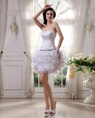 Günstig Kurze Hochzeitskleider Weiß Organza Brautkleider Mini Hochzeitsmoden_4