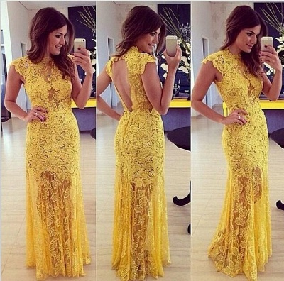 Yellow Long Prom Dresses Evening Dresses Lace Mermaid Floor Length Prom Dresses_2