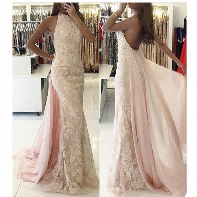 Beautiful evening dresses long cheap lace pink mermaid prom dresses online_2