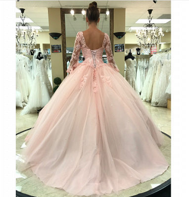Luxury pink wedding dresses with sleeves lace princess wedding dresses cheap online_3