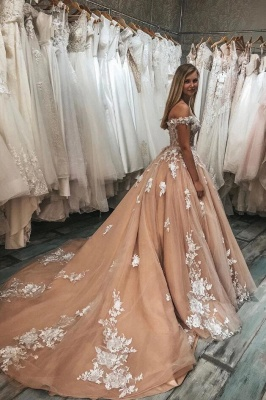 Champagne Wedding Dresses A Line | Cheap wedding dresses with lace_2