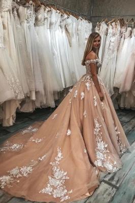 Champagne Brautkleider A Linie | Günstige Hochzeitskleider mit Spitze_2