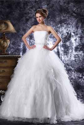 Princess white wedding dresses tulle with train bridal wedding gowns_1