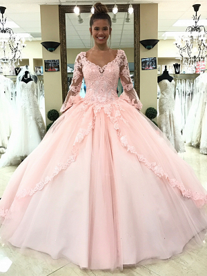 Luxury pink wedding dresses with sleeves lace princess wedding dresses cheap online_1