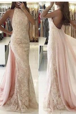 Beautiful evening dresses long cheap lace pink mermaid prom dresses online_1