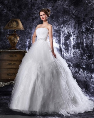Princess white wedding dresses tulle with train bridal wedding gowns_2