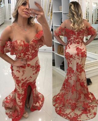 Rote Lange Abendkleider mit Spitze Schulterfrei Abiballkleider Günstig_1