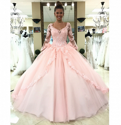 Luxury pink wedding dresses with sleeves lace princess wedding dresses cheap online_2