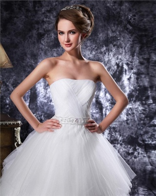 Princess white wedding dresses tulle with train bridal wedding gowns_4